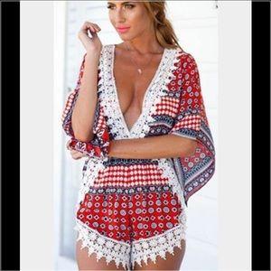 Lexi's Boutique Pants - ❌FINAL SALE❌only 1 LEFT!! Lace Detail Romper