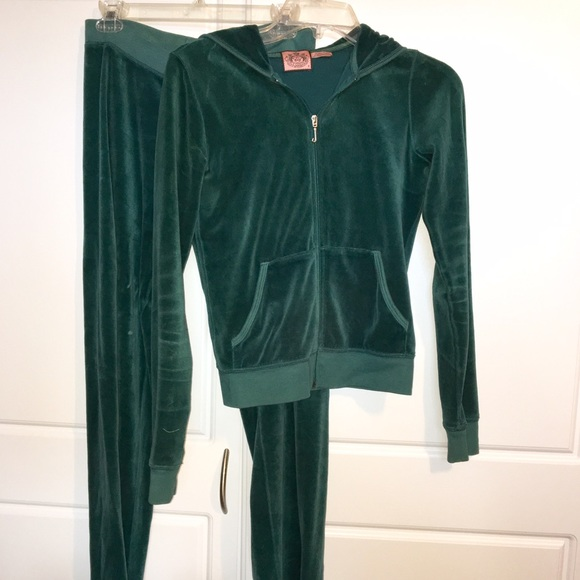 a866ba28c098 Juicy Couture Jackets   Blazers - Dark Green Juicy Couture Velour Sweatsuit