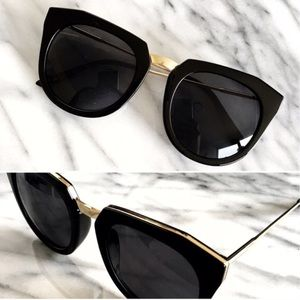 Boutique Accessories - Classic Black Cat Eye Sunglasses with Gold Trim