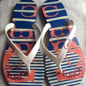 COACH Blue, Red and White Flip Flops