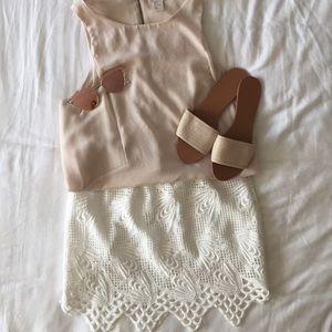 White Lace Crochet skirt
