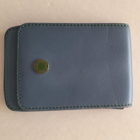 Coach accessories blue leather business card holder poshmark coach blue leather business card holder colourmoves
