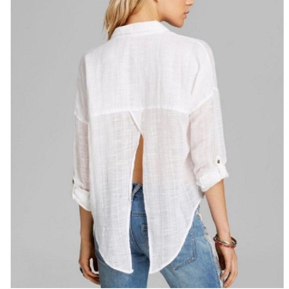 92ef8f32f Free People Tops - Free People Split Back Button Down White Top