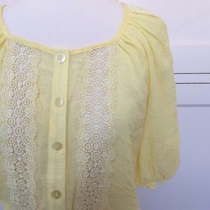 BCX Tops - Pale Yellow Top with Lace Inset