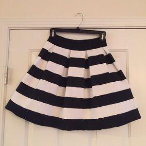 Express Black & White Striped Circle Skirt