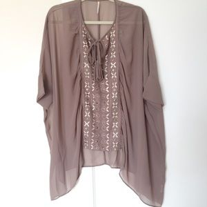 Free People Tunic Poncho Blouse