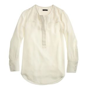 J. Crew Tops - J.Crew Covered Button Crepe Blouse