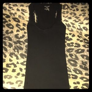 Extra long black ribbed tank w lace trim