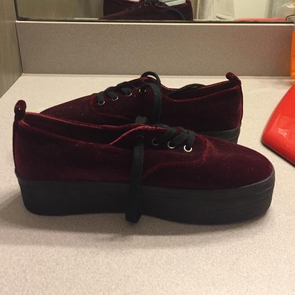1dbbb48c1443 H M Shoes - Maroon Velvet Platform Sneakers
