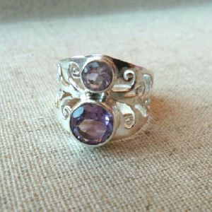 Jewelry - Size 9 925 two-tone amethyst ring
