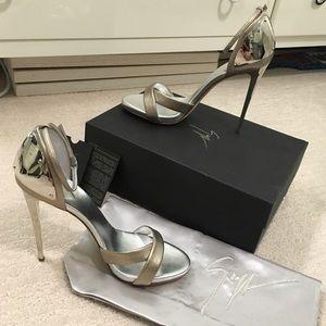 NEW Giuseppe Zanotti Silver Plate Heels! NWT