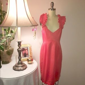 Leona Edminston Dresses & Skirts - Coral Linen Cleavage Dress w Ribbon Ruffle Straps