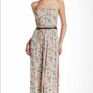 Strapless floral print maxi dress taupe with belt