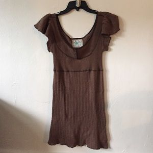 Free People Brown Knit Top