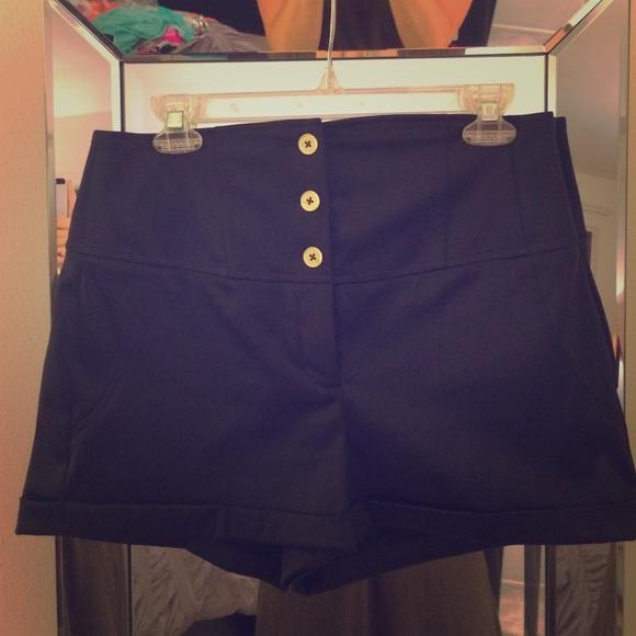 74% off Express Pants - Express Black Satin High Waisted Shorts ...
