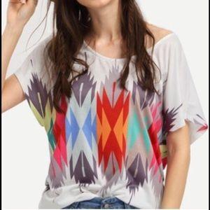 Boutique Tops - Multicolor Geometric Print T-shirt