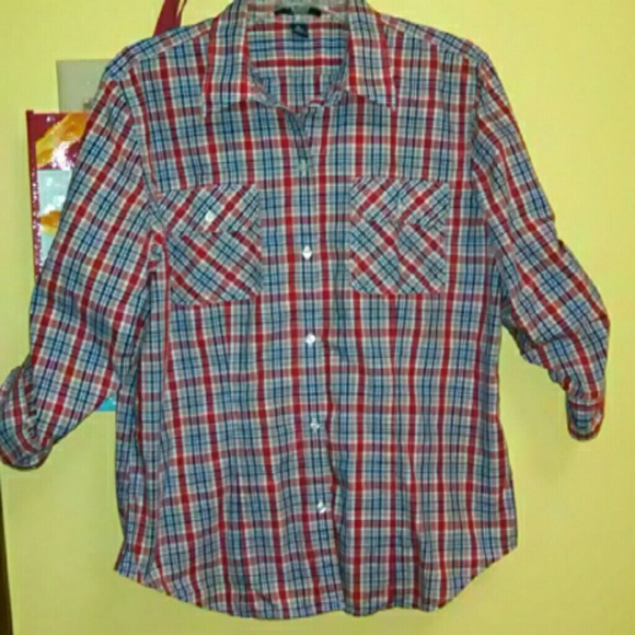 Chaps tops sale button down roll tab sleeve shirt poshmark for Chaps shirts on sale