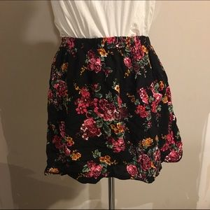 Kirra black with bright floral design skater skirt