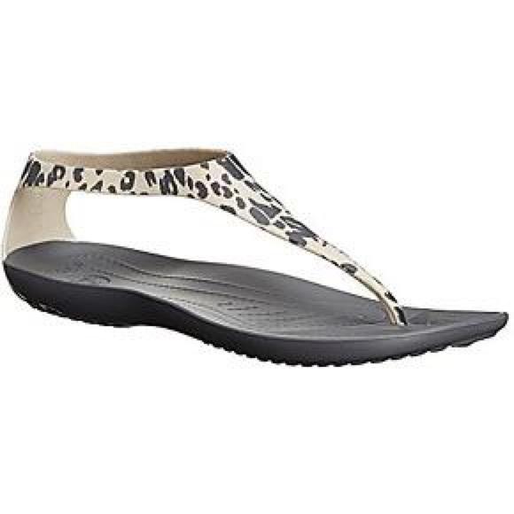 najtańszy super promocje nowe niższe ceny Crocs Sexi Flip gray leopard sz 8 brand new NWT