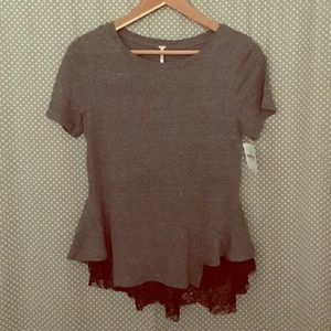 Free People Tops - Free People Lace Peplum Tee