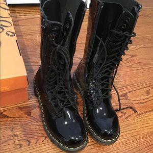 Dr. Martens patent zip up lace up boots