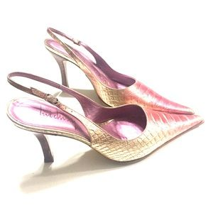 Luichiny Shoes - Metallic pink sling backs. Excellent condition.