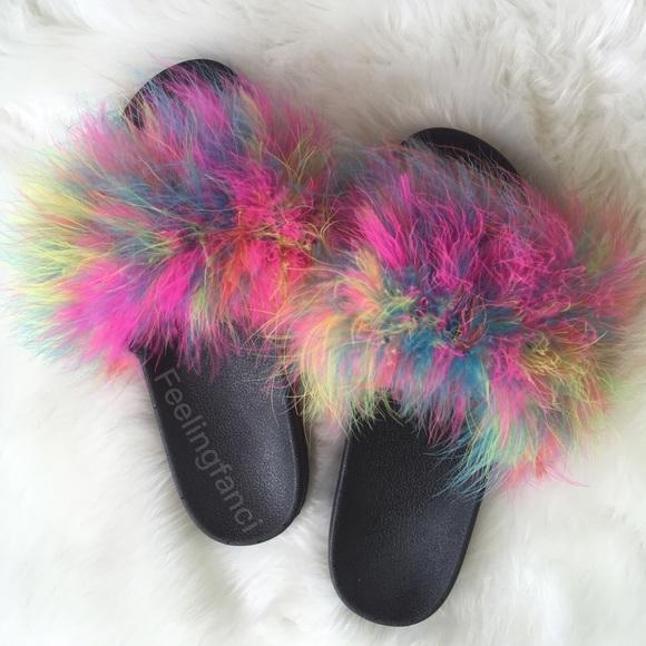 cbe2a6329ce54 Feeling Fanci Faux Fur Slides Multi Color