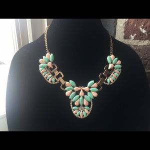 Peach | Mint | Gold statement necklace