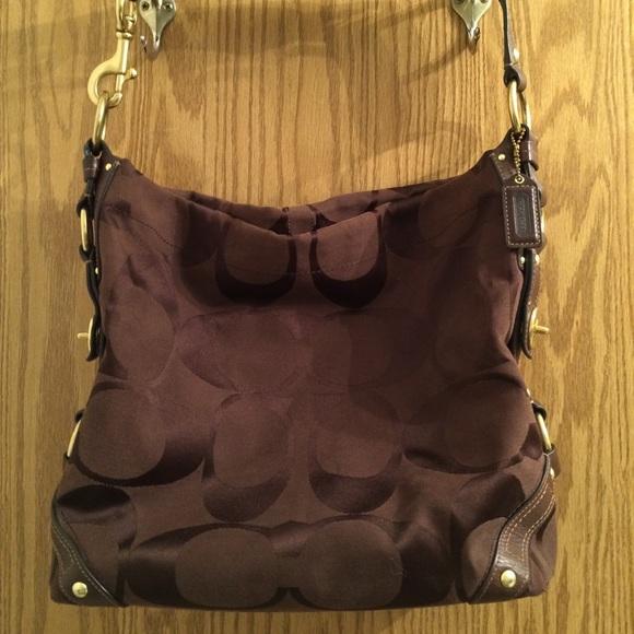 Coach Handbags - COACH Brown Large Signature Carly Hobo Duffle Bag 1b6425bf9bf66