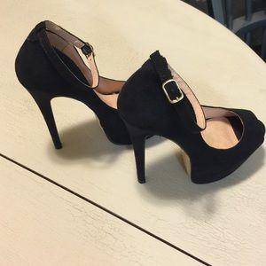 Black peep toe Mary Jane pumps