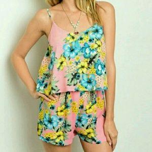 Dresses & Skirts - Floral Lace Envelope Hem Open Back Romper