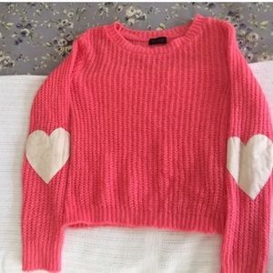 LF Sweaters - LF Pink heart elbow patch sweater