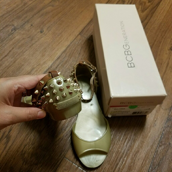 e65a3c7e9261 BCBGMaxAzria Shoes - BCBG Gold Rockstud Sandals