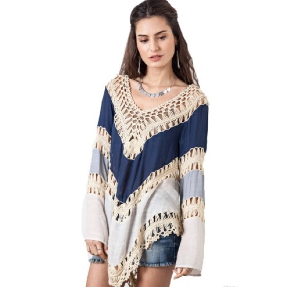 e015d8dd42a0bb Boho Top Long Sleeve Crochet Tunic