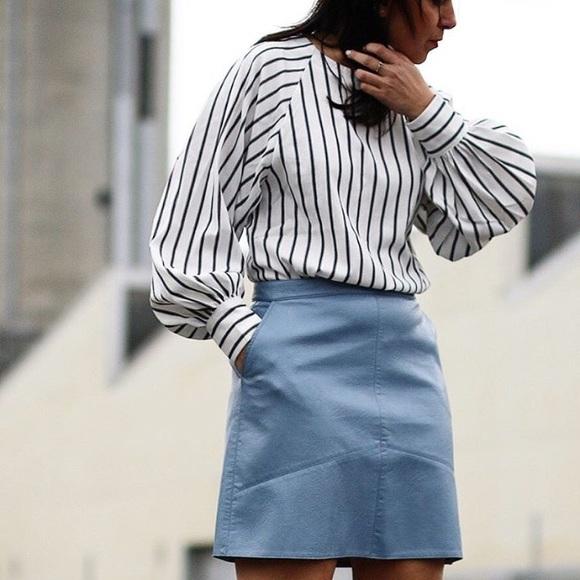 a607d96dcd Zara faux leather light blue skirt. M_58331f544127d065a70ba7ba