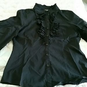 Body fitted puffy sleeves button down shirt