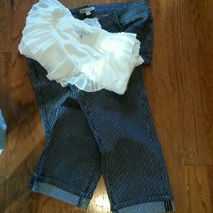 Cabi cropped striped jeans size 8..blue/white NWOT