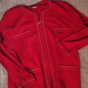 Vintage red sweater with gold stitching