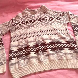 H&M Tribal Print Mock-Neck Sweater.