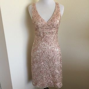 Sue Wong Champagne Beaded Dress