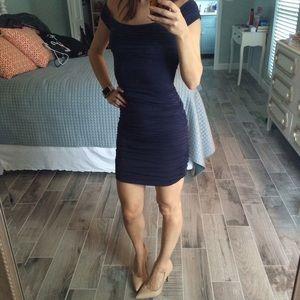 BCBGMaxAzria Dresses - Ruched navy BCBGMaxazria dress
