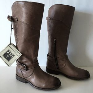 FRYE PHILLIP GRAY TUMBLED LEATHER TALL RIDING BOOT