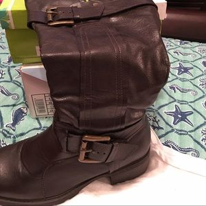 Brown knee high boots with small heel