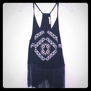 Aztec fringe embroidered tank!