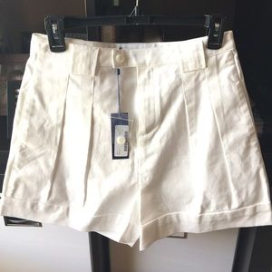 Rebecca Minkoff Wht City Pleated Highwaist Shorts