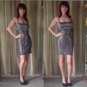 Badgley Mischka Dresses & Skirts - SILVER & BLACK METALLIC/SEQUIN COCKTAIL DRESS