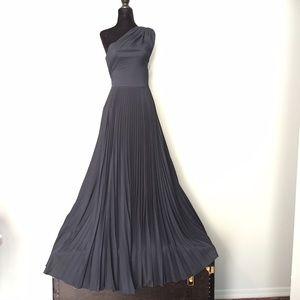 Tadashi one shoulder navy gown