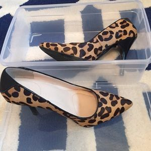 Calvin Klein calf hair animal print pumps