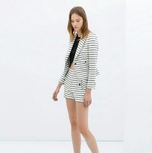 Zara Jackets & Blazers - Zara Short Fitted Striped Blazer
