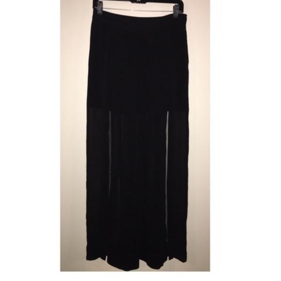 zara zara black slit m slit maxi skirt small from